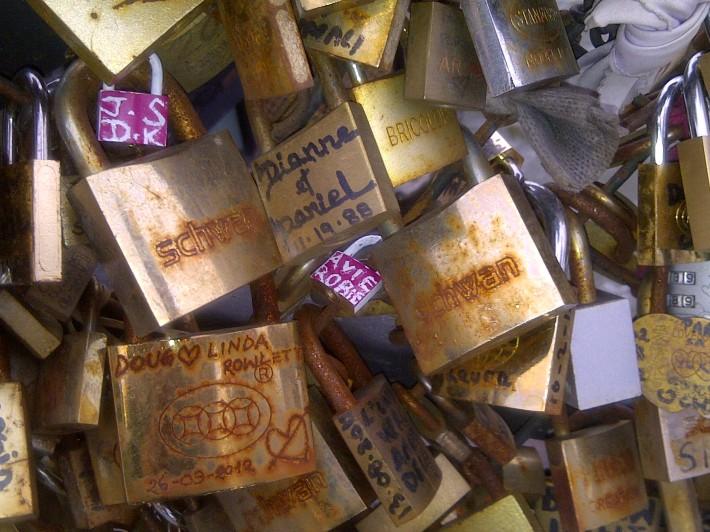 our padlocks on lovers' bridge